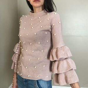 Dusty Rose Pearl Embellished Bell Sleeve Sweater